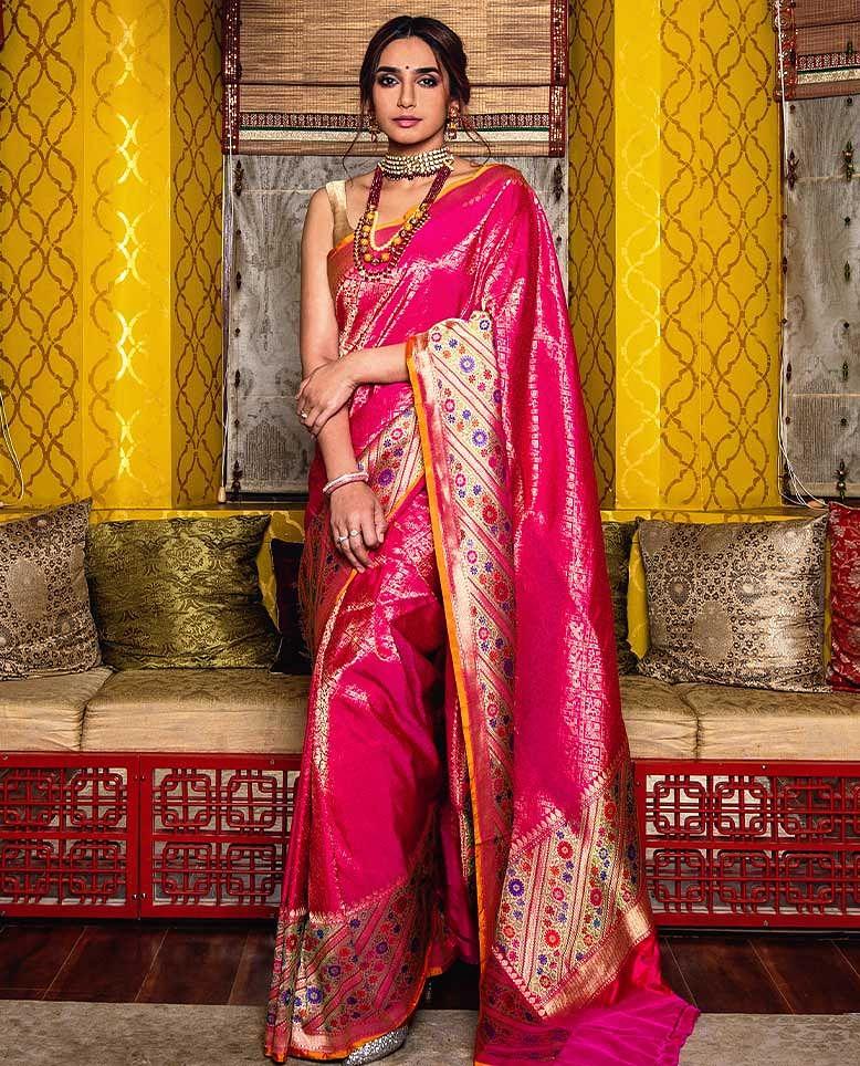 designer saree wedding saree pink n green saree Heavy Georgette sequence work Saree and blouse for women sari bridal saree saree dress